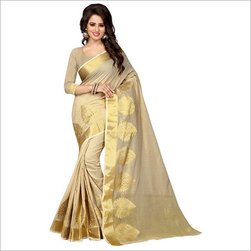 Designer Beige Banarasi Cotton Silk Saree With Blouse