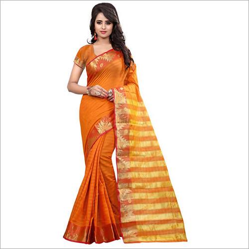 Designer Orange Banarasi Saree With Blouse Piece