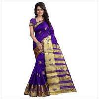 Designer Purple Banarasi Saree With Blouse Piece
