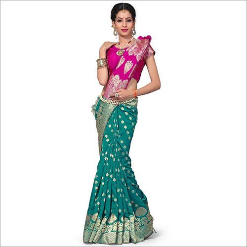 Green & Pink Colour Banarasi Art Silk Woven Work Saree