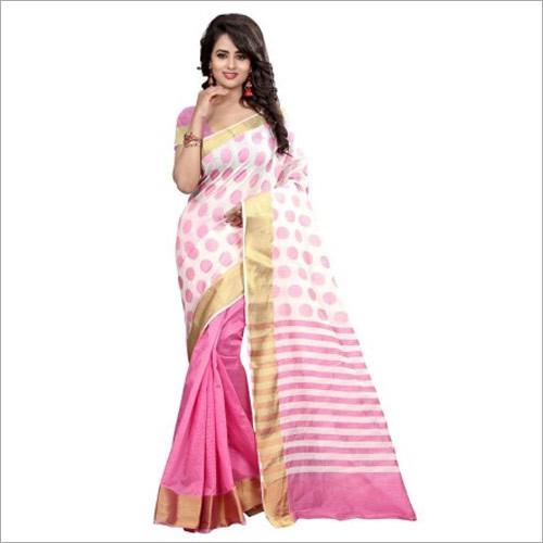 Pink And Off White Banarasi Silk Saree With Blouse