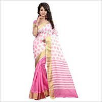 Pink And Off White Banarasi Silk Saree With Blouse