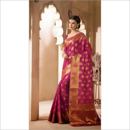 Pink Zari with Blouse Banarasi Sarees