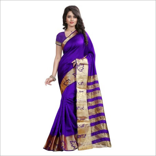 Purple Colour Saree With Blouse Piece