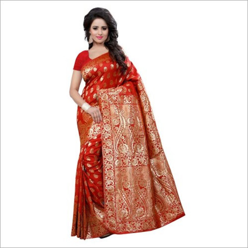 Red Colour Saree With Blouse Piece