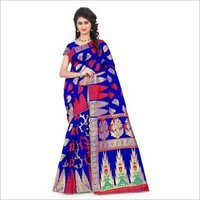 Royal Blue And Red Jacquard Saree With Blouse