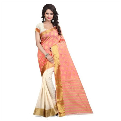Traditional Peach And Off White Banarasi Saree
