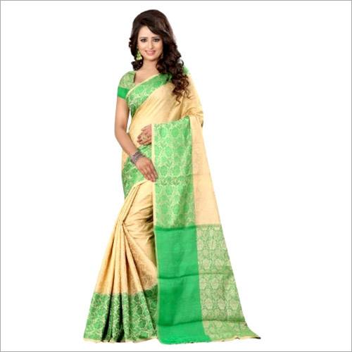 Traditional Wear Beige Banarasi Silk Saree With Blouse
