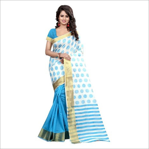 Traditional Wear Blue And Off White Banarasi Silk Saree With Blouse