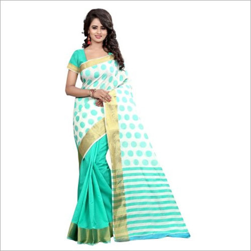Traditional Wear Green And Off White Banarasi Silk Saree With Blouse