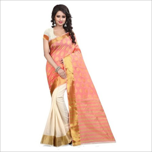 Traditional Wear Peach And Off White Banarasi Silk Saree With Blouse