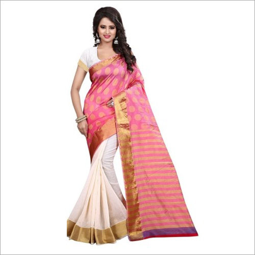 Traditional Wear Pink And Off White Banarasi Silk Saree With Blouse