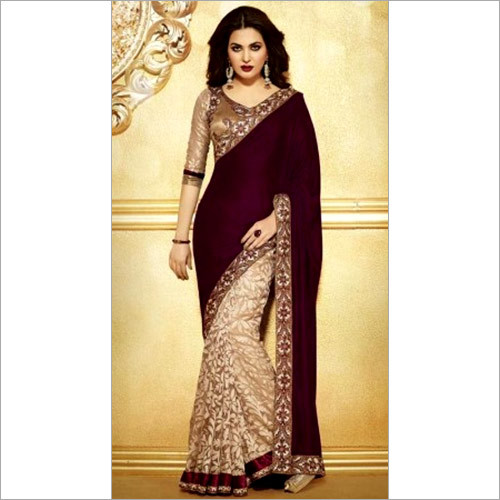 Designer Bridal Ethnic Velvet Brasso Wedding Saree