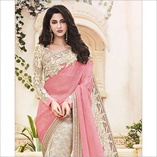 Excellent Pink & Beige Wedding Saree