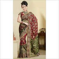 Green Red Maroon Wedding Saree