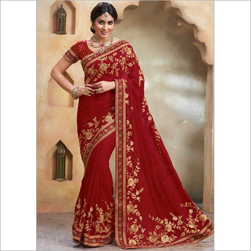 Maroon Thread Work Georgette Bollywood Wedding Sarees