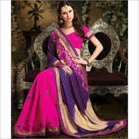 Marvelous Deep Purple & Pink Wedding Saree