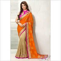 Orange Chiffon Wedding Saree