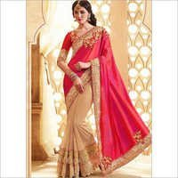 Pink Cream Embroidery Patch Work Silk Fancy Wedding Saree