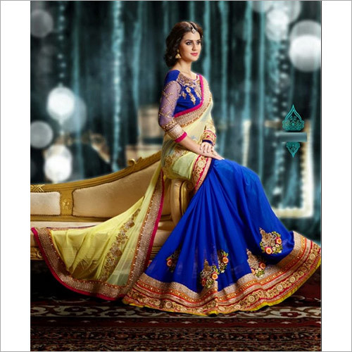 Pure Georgette Blue and Cream Designer Wedding Saree