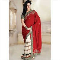 Red And Cream Velvet Half And Half Bridal And Wedding Saree