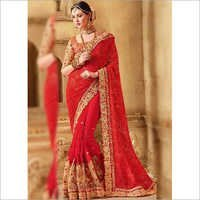 Red Embroidery Booti Work Georgette Net Fancy Wedding Saree
