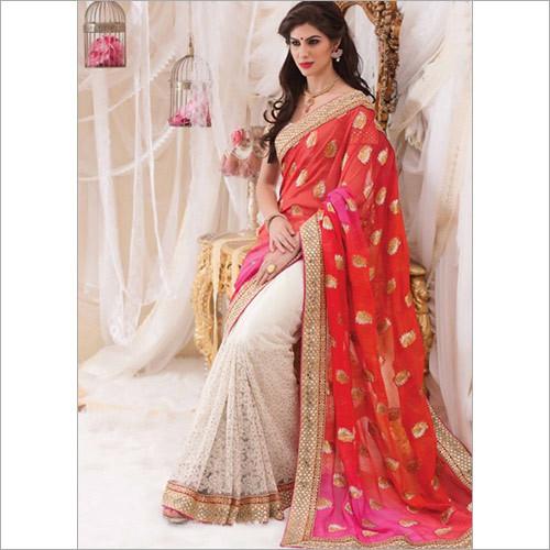 Red Net and Viscose Wedding Half and Half Saree
