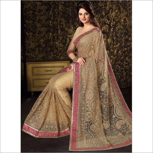 Smoldering Lace Border Net Beige Designer Wedding Saree