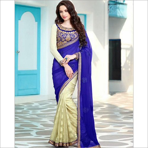 Royal Blue And Light Cream Wedding Sarees