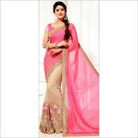 Beige and Brown, Pink and Majenta Color Wedding Saree