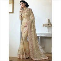 Cream Net Designer Wedding Saree