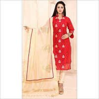 Benignant Red Cotton Churidar Suit