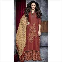 Blest Rust Cotton Palazzo Churidar Suit