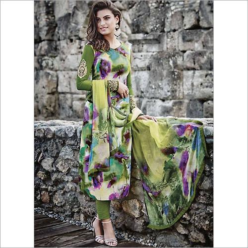 Dilettante Green Cotton Satin Churidar Suit