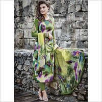 Dilettante Green Cotton Satin Churidar Suit