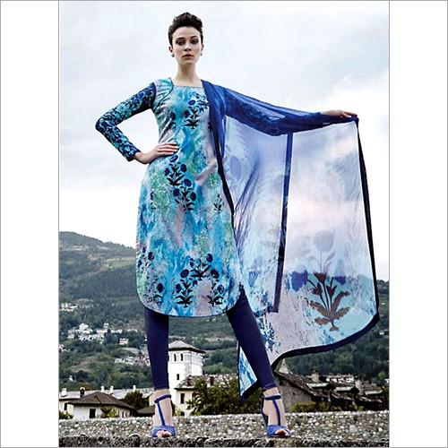 Exotic Turquoise Cotton Satin Churidar Suit