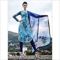 Exotic Turquoise Cotton Satin Churidar Suit
