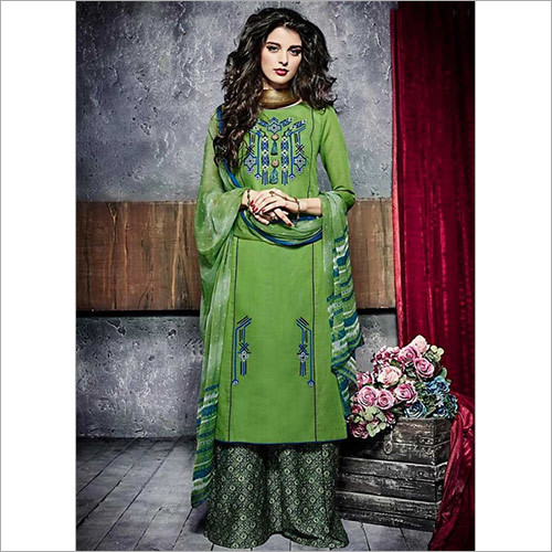 Genuine Sea Green Cotton Palazzo Churidar Suit