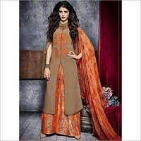 Gleeful Brown Cotton Palazzo Churidar Suit