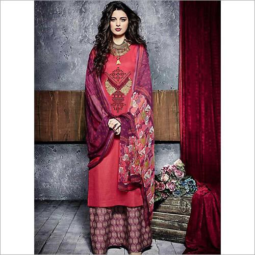 Hegemonic Red Cotton Palazzo Churidar Suit