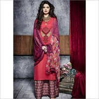 Hegemonic Red Cotton Palazzo Churidar Suit