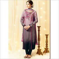 Lavish Grey Cotton Satin Churidar Suit