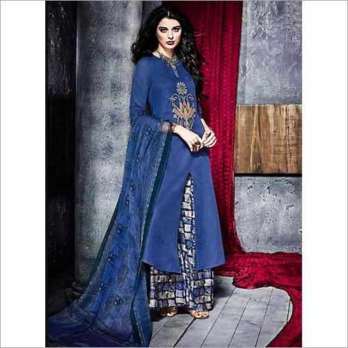 Nailing Blue Cotton Palazzo Churidar Suit