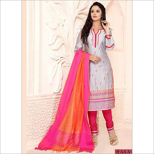 Penchant Grey Chanderi Cotton Churidar Suit