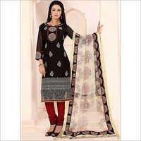 Praiseworthy Black Cotton Churidar Suit