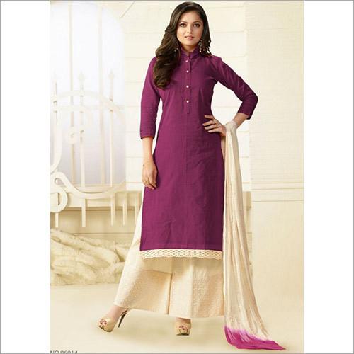 Qualified Purple Cotton Palazzo Churidar Suit