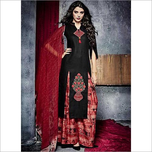 Sincere Black Cotton Palazzo Churidar Suit