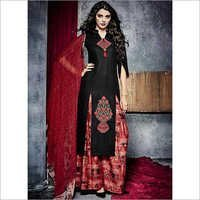 Sincere Black Cotton Palazzo Churidar Suit
