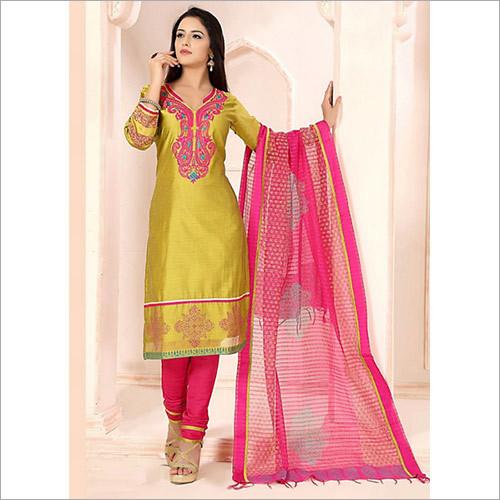 Sincere Dark Yellow Chanderi Cotton Churidar Suit