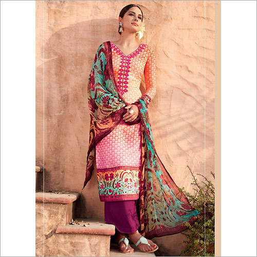 Solemn Multi Shaded Cotton Silk Palazzo Churidar Suit